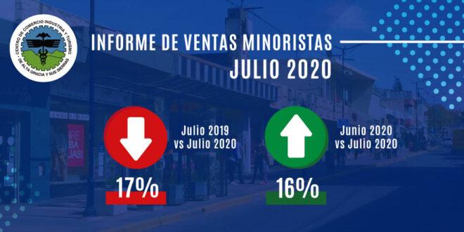 Ventas minoristas de Alta Gracia: resultado del mes de JULIO
